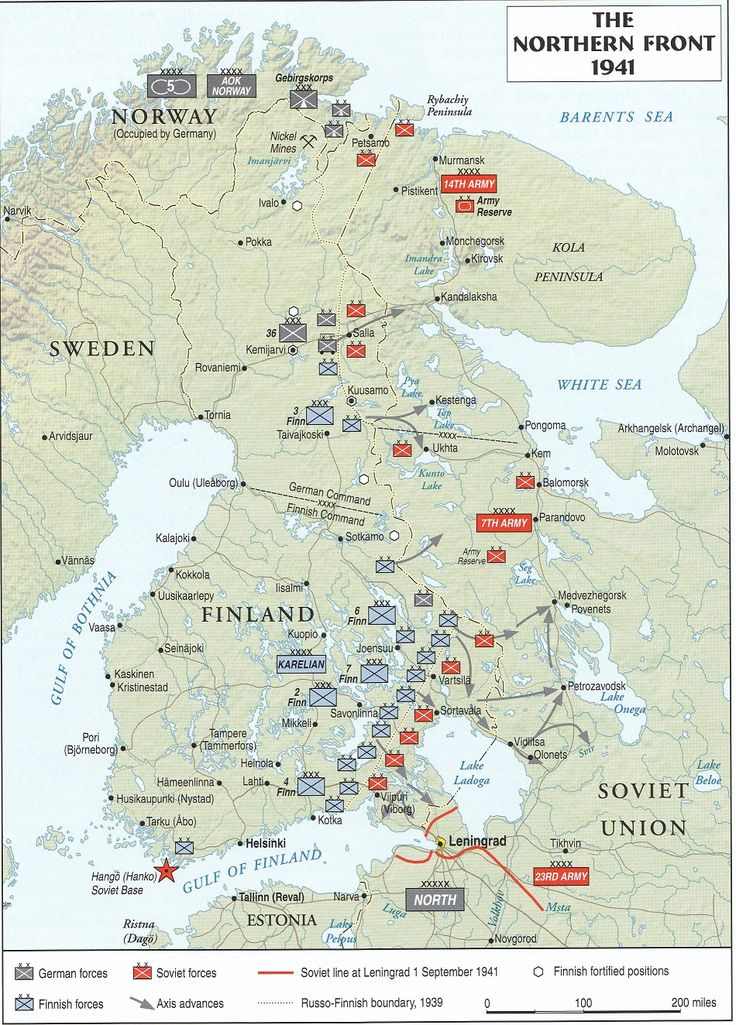 Situational map of the front in Northern Russia. 1941