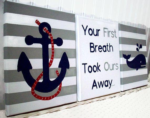 Nautical Nursery Paintings - Hand Painted Nursery Art - Whale Anchor Canvas Painting - Baby Boy Nursery Decor - Grey Navy Wall Decor
