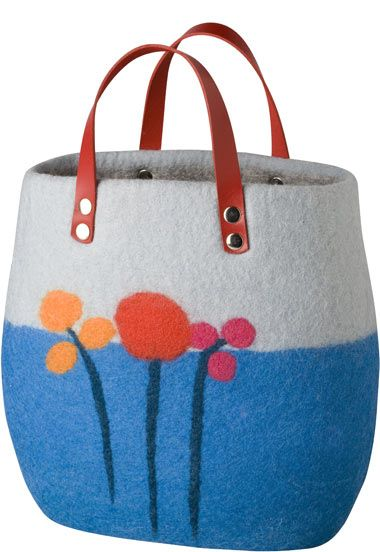 Grey and blue felted wool bag with leather handle by Kerstin Schuermann from 100% Kollektion at Werkstück.com