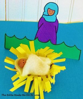Make a stand-up figure of Miriam. Baby Moses is in a basket made from an egg carton cup. thebiblemademedoit.com