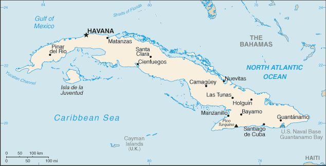 Country Maps: Map of Cuba