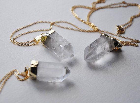Crystal Necklace - Raw cuarzo oro sumergido - collar de cristal punto - electrochapado collar largo - cristal de cuarzo-