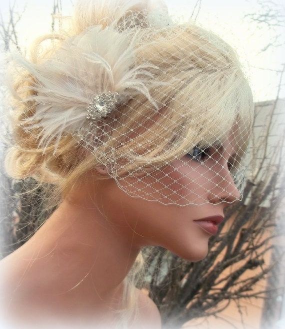 Ivory bridal hair fascinator with birdcage veil, vintage style brooch, french netting, ivory peacock feather fascinator -ship ready OOAK $59