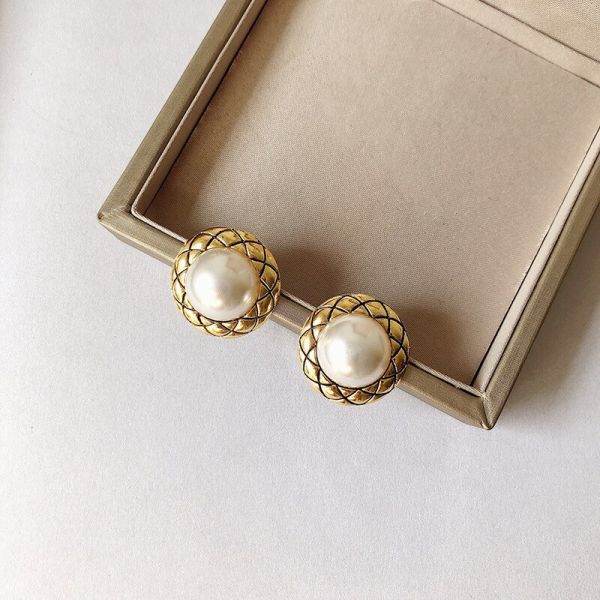 Pearl Hoop Earrings Big Exaggerated Round Circle Geometric Statement Gift