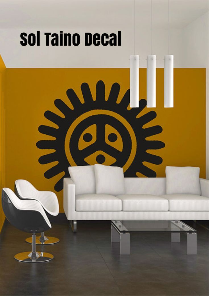 Transform your walls with this brushed style graphic of the Sol Taino Petroglyph wall decal! #ad #etsy #puertorico #soltaino