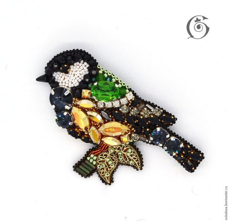 Купить Синица - желтый, черный, белый, кристаллы сваровски, птица, синица, зима, брошь