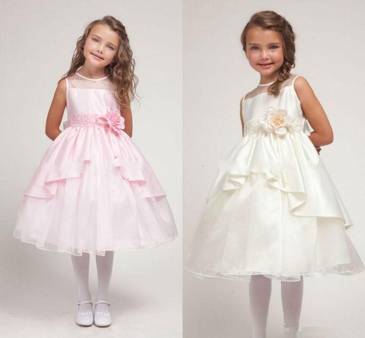 Pink Princess Girl'S Pageant Dresses Jewel Sleeveless Flower Girl Dresses 2014 First Communion Dresses Waist Handmade Flowers Hoe Sale White Toddler Dress Big Dresses From Ebelz003, $69.57| Dhgate.Com