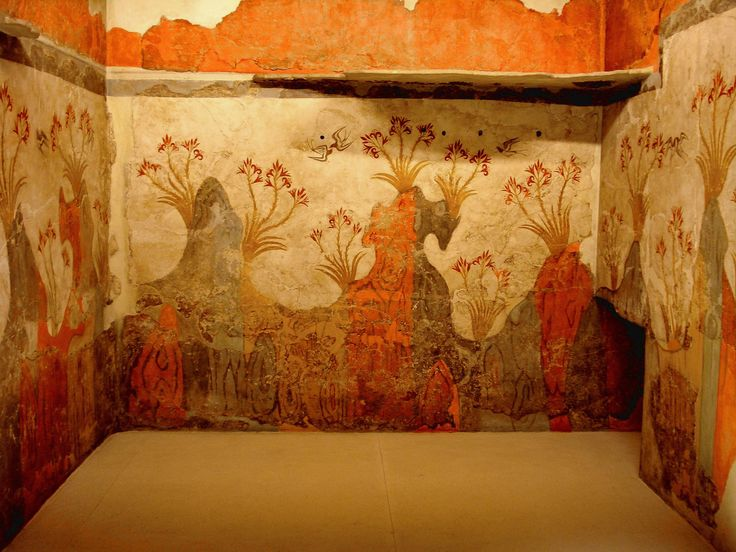 "MINOAN CIVILIZATION:; Minoan Fresco wall painting of ""Spring"", Archaeological Museum of Athens. # from Minoan Bronze Age settlement of Akrotiri on the Greek island of Thira, Santorini, Greece.#"