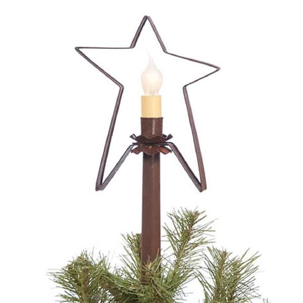 Christmas Star Wired country lit lighted tree tin top topper Handcrafted light America colonial primitive Americana rustic holiday gift gifts candle electric