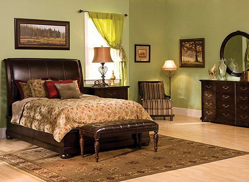 A Casual Yet Grandly Styled Bedroom Set The Belmont Leather 4 Pc King Platform Look Bedroom