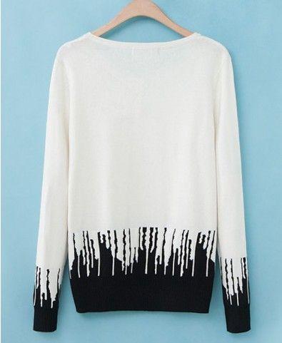 Irregular Vertical Stripes Hem Pullover - Clothing