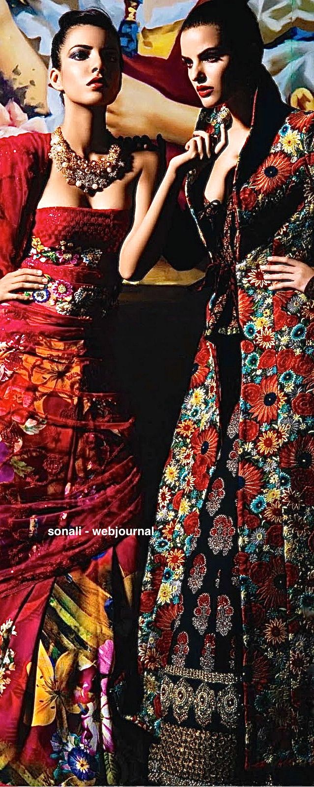 Print from Vogue India - sourced from Tumblr - Floral motif - outfit on left by Arti Talwar, outfit on right by Sabyasachi