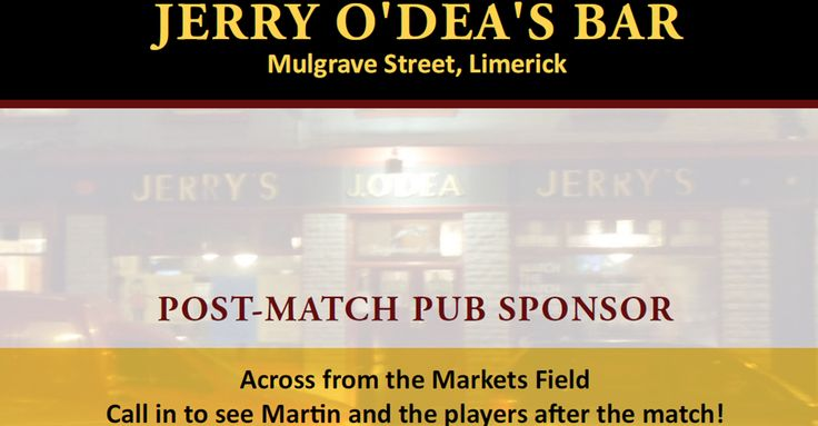 Our Post-Match Pub Sponsor this evening is Jerry O'Dea's Bar, across from the Markets Field. More: http://www.limerickfc.ie/post-match-derry-city-meet-the-team-at-jerry-odeas-bar
