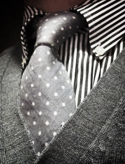 Grey on grey. Spots and stripes. #mens