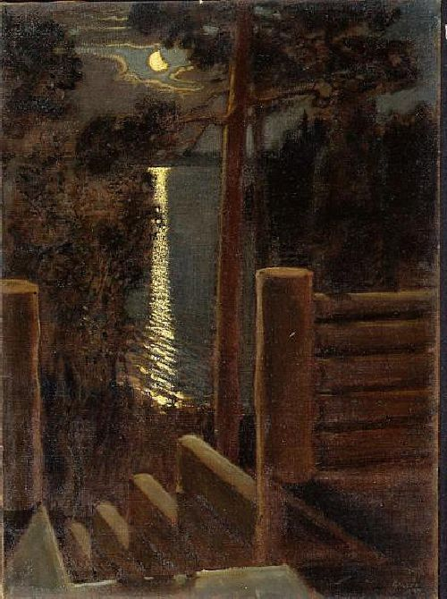 Akseli Gallen-Kallela (1865-1931, Finland)  'Moonlight' - Oil Painting