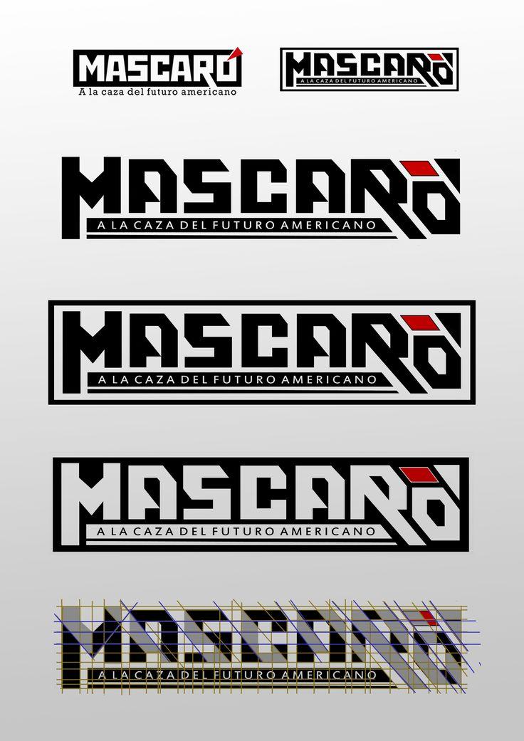 Rediseño: Arriba a la izquierda el antiguo logo estático de REVISTA MASCARÓ y a la derecha el nuevo diseño. Variaciones del logotipo y especificación de líneas dinámicas diagonales. Diseño Gonzalo Rielo / design / logo.