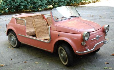 """The """"Jolly de Plage"""" or """"Joker of the Beach"""" was created by Gianni Agnelli, Fiat chairman and famous Italian playboy, in 1957.  Used as beach cars, estate roundabouts, yacht tenders, and golf carts, the Jolly came in pink, coral, white, pale yellow, and sky blue. They feature wicker seats and the option of a fringed surrey top. Each Fiat Jolly is unique, as many were custom handmade to order creations."""