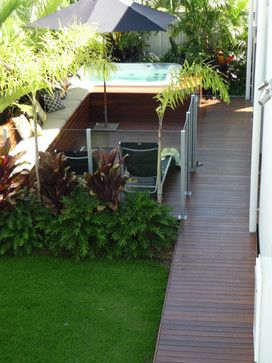 Idea for north side passage - raised timber path from pool down side of house. outside - tropical - exterior - brisbane - olive & joy
