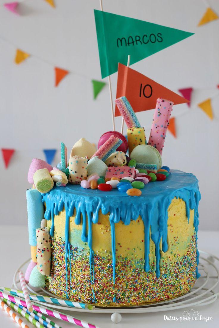 Dulces para un Angel: Drip cake de chuches para MARCOS, 10 años!!!
