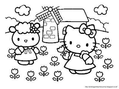 Aneka Gambar Mewarnai - Gambar Mewarnai Hello Kitty Untuk Anak PAUD dan TK.   Pelajaran menggambar d...