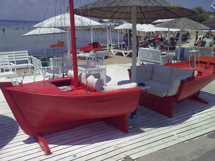 Sofa Boat. That's neat, maybe a sail could be made into the top rather than an umbrella