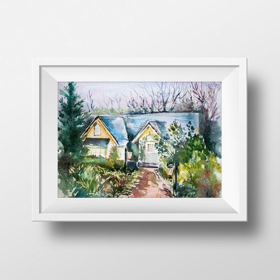 Wall Art Twilight Edward Cullen And Bella Swan House Watercolor Print The Twilight Saga Twilight House Twilight Twilight Poster Swan Drawing Watercolor Print
