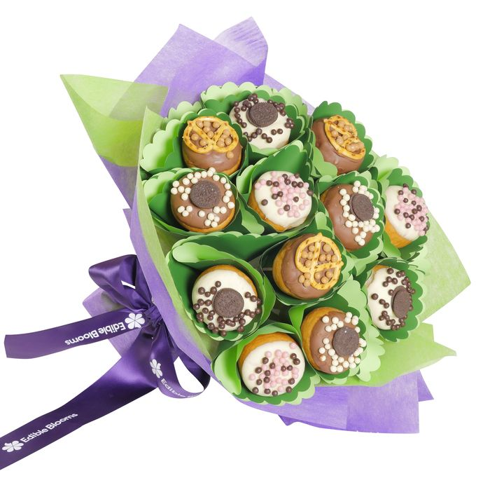 This delicious Donut bouquet contains a mix of fresh and chocolate dipped strawberries, in a classic ceramic bowl to keep.AU$65.00 from Edible Blooms