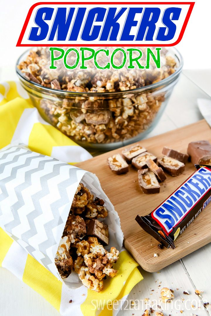 SNICKERS Popcorn by Sweet2EatBaking.com #BigGameTreats #Ad