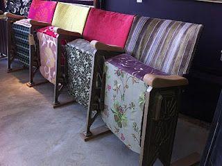 reupholstered vintage cinema seats <3