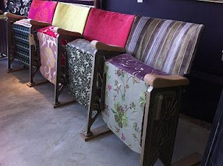 Reupholstered movie theater seats. From Liscious Interiors of Oxford (UK)