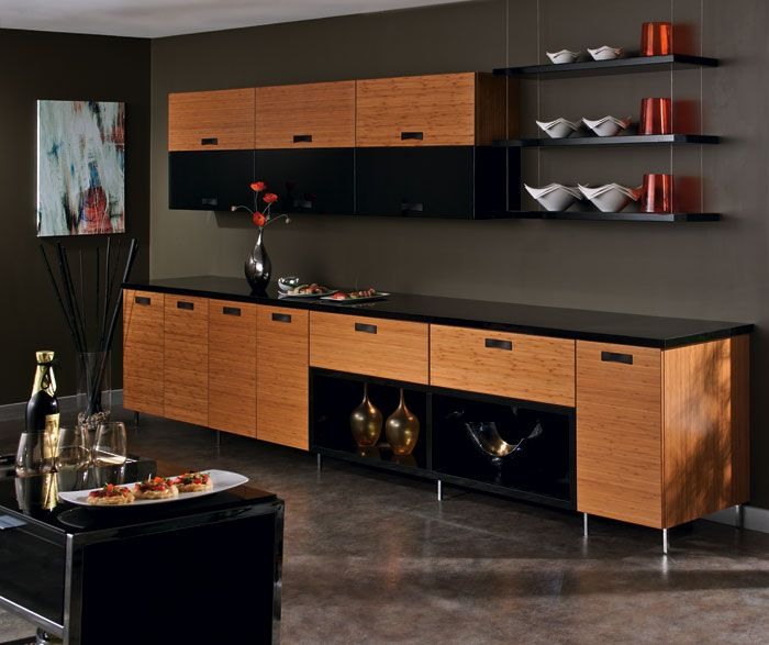 The horizontal lines of the bamboo kitchen cabinets for Kitchen cabinet lines