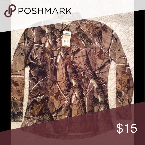 Women's camo shirt The shirt is made of cotton twill camo, made to fit a woman. Very soft and comfortable. Gander Mountain Other