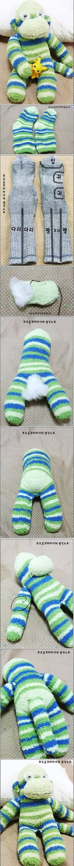 DIY Sock Monkey tutorial. Make it with a fuzzy sock to make your stuffed animal extra soft.
