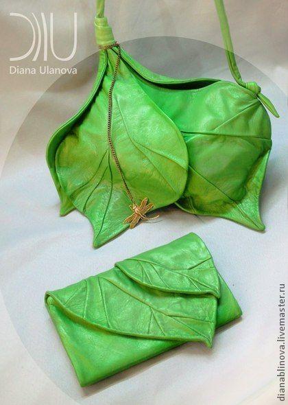 """Сумка кожаная """"Бутон"""" - зелёный,однотонный,зеленая сумка,бохо-стиль,бохо-шик"""