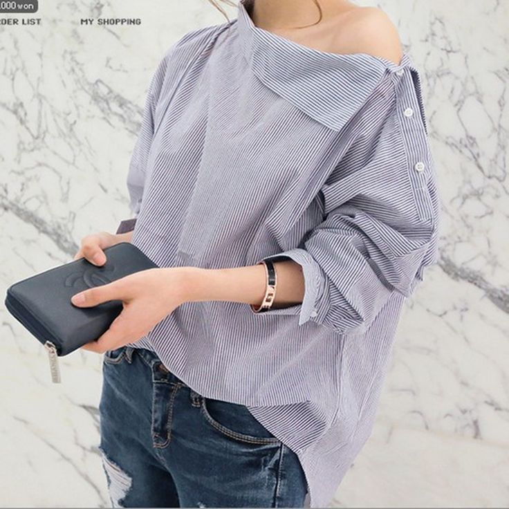 New Women Shirts Batwing Full Sleeve Striped Loose Oblique Collar Blouse Shirt Blue And White 1269-in Blouses & Shirts from Women's Clothing & Accessories on Aliexpress.com | Alibaba Group