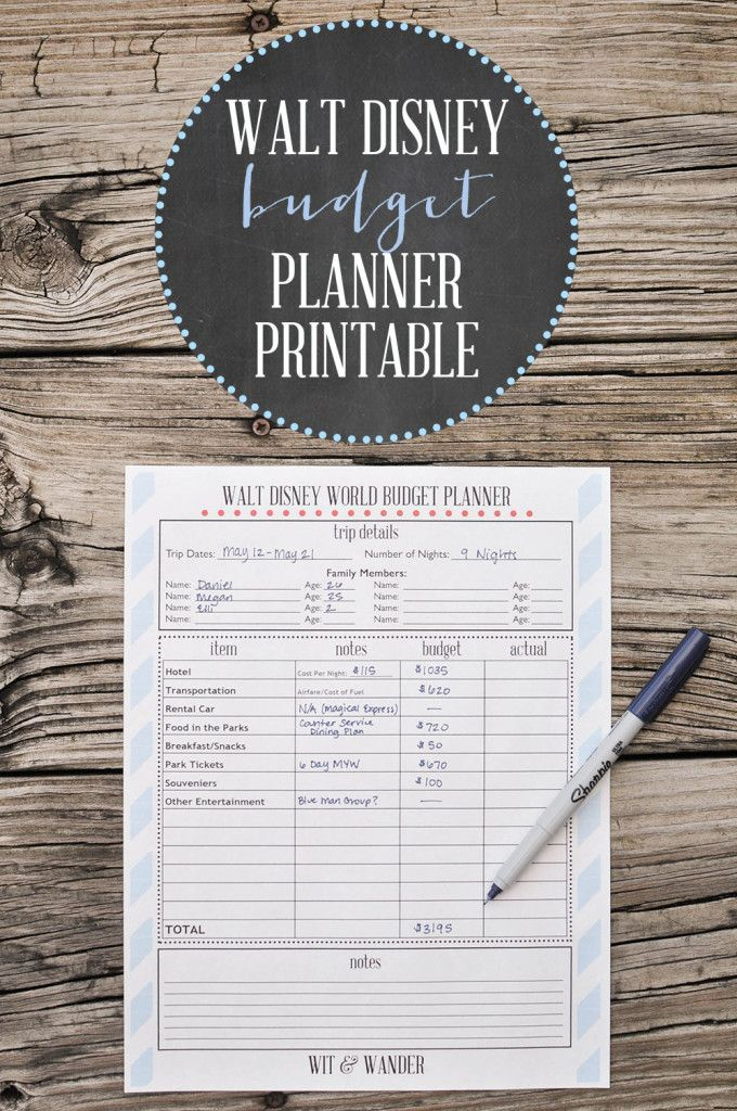Free Printable Disney World Budget Planner - Wit & Wander