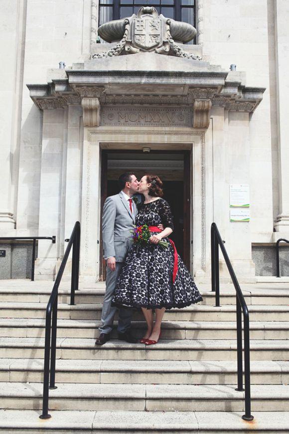 Black lace wedding dress, Islington London wedding, Hoxton Hotel