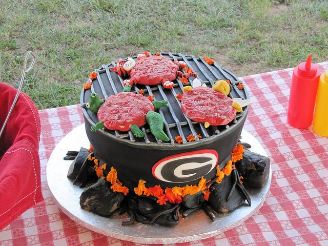 Georgia UGA Grill Cake  The burgers are UGA rivals the Yellow Jackets, Auburn Tigers, and Florida Gators!