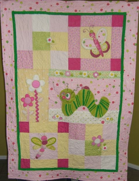 Bug Quilt Pattern for baby girl Patchwork - applique Pinterest