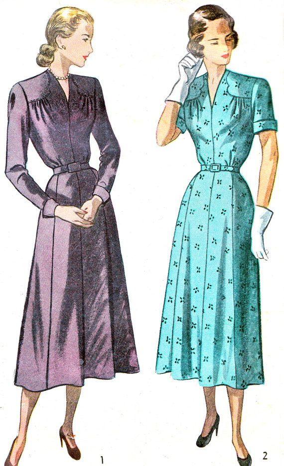 40er Jahre Kleid Muster Einfachheit 2367 aufgespießt Rock V Neck Dress mit überbackene Schulter Joch Womens Vintage Sewing Pattern Büste 34