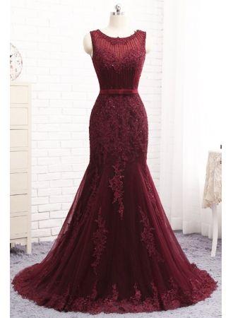 Schöne Lange Kleider Kaufen | Abendkleider Lang Rot Spitze ...