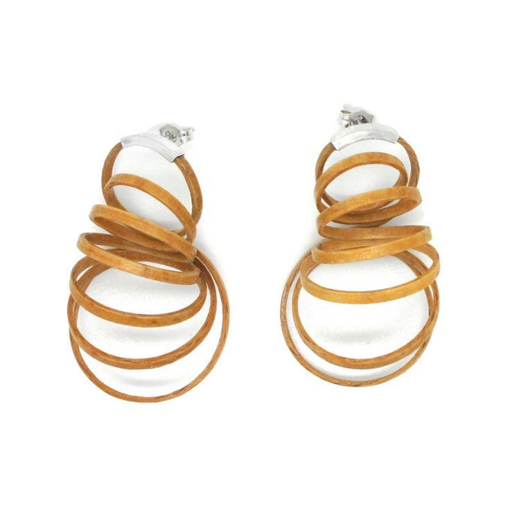 Mette Jensen - Silver & Wood Coil Earrings - Beech Wood Jewellery - ORRO Contemporary Jewellery Glasgow - www.ORRO.co.uk