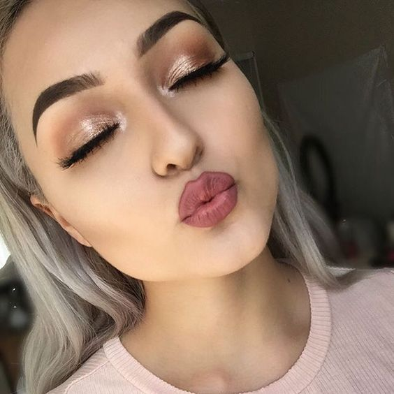 shimmery eyes and rosey lips