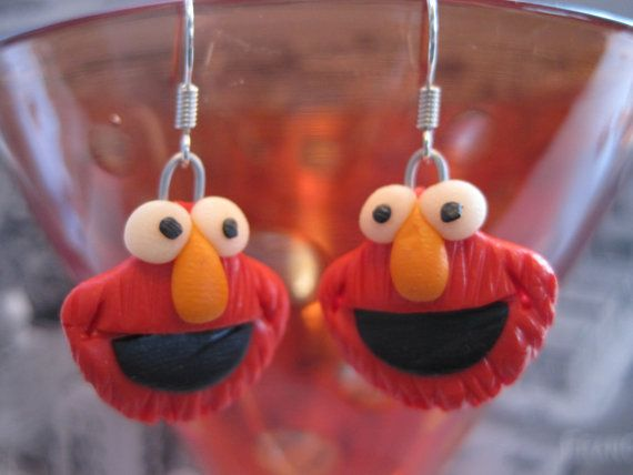 Elmo from Sesame Street Handmade Fimo Earrings with by Fimoman, $12.00