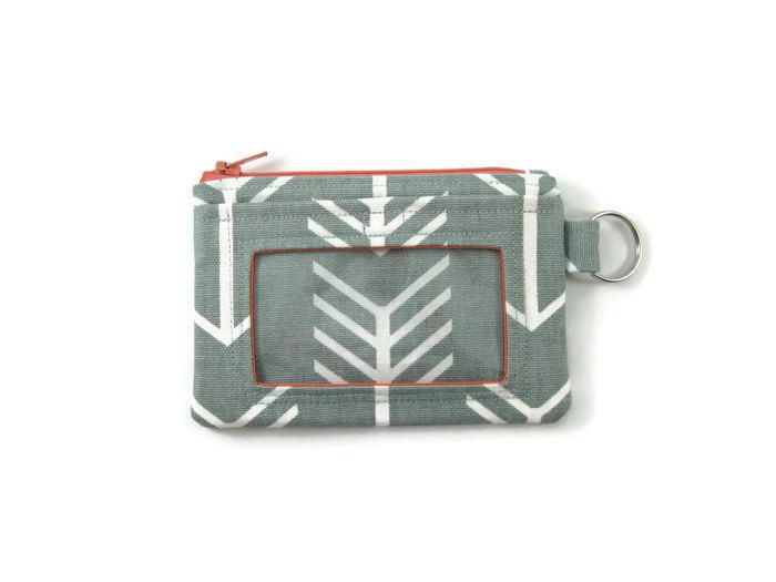 Gray and White Arrow Print with Coral Accents ID Wallet / Keychain Wallet / ID…