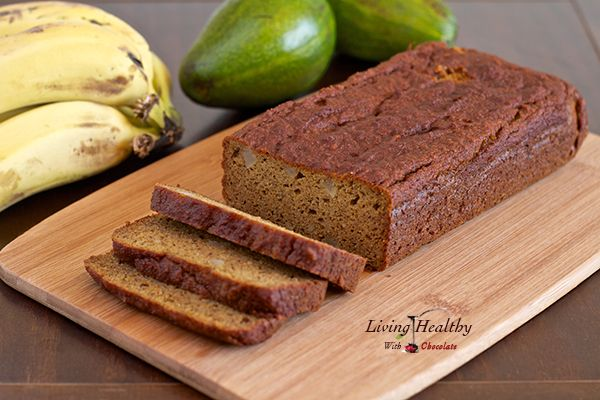 Avocado Banana Bread Recipe (paleo, low carb,  gluten, grain, dairy and refined sugar free) by LivingHealthyWithChocolate.com