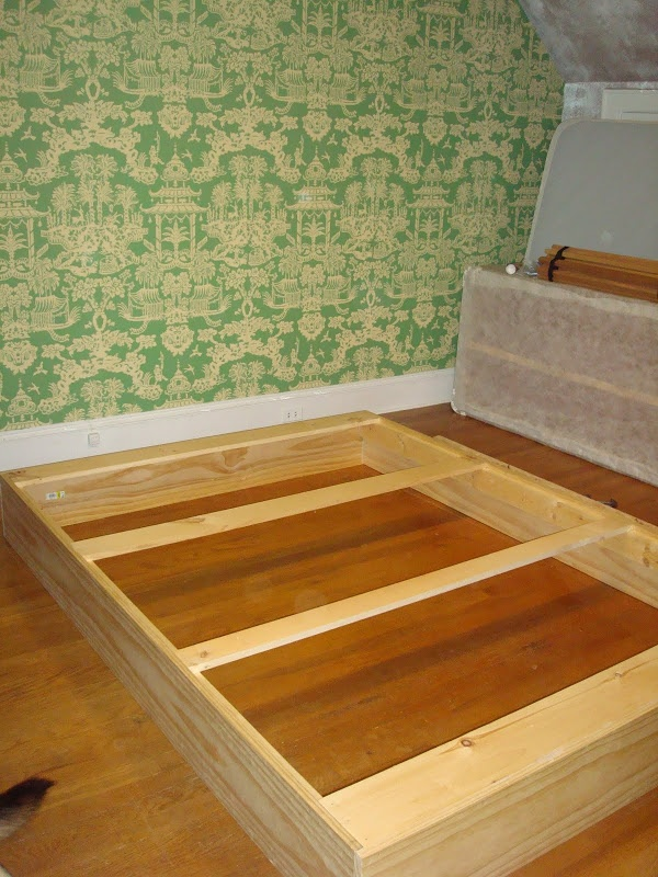 """Build and upholster box to go around the  metal frame; build """"drawers"""" for stuff"""