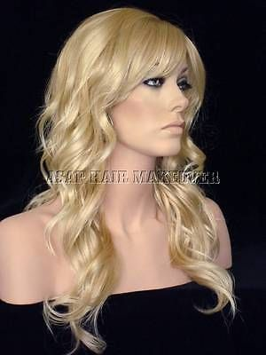 Long Loose Body Wavy Wig with Long Layers and Bangs in Light Blonde Mix #24BT102