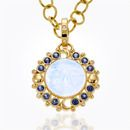 Item 18K Moon Face Luna Pendant with Royal Blue Moonstone and sapphire
