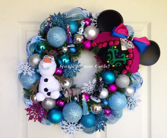 Frozen Wreath Anna Ear Hat, Olaf Wreath by Sparkle for Your Castle.  Featuring custom ear hats by Happily Ever Hatter.